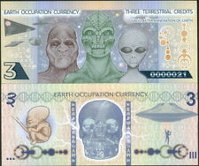 EARTH OCCUPATION CURRENCY 3 TERRESTRIAL CREDITS ALIENS FANTASY ART BANKNOTE NEW!