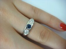 14K WHITE GOLD LADIES GYPSY RING 0.55 CT T.W. ROYAL BLUE SAPPHIRE AND 2 DIAMONDS