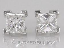 0.30ct Princess Cut F Colour Diamond Solitaire Stud Earrings in 18ct White Gold