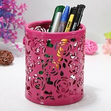 Rose Flower Hollow Brush Storage Pen Pencil Pot Holder Container Desk Stationery