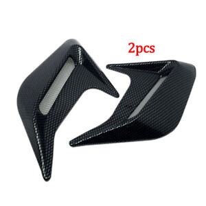 2PCS Carbon Fiber Car Hood Air Flow Fender Side Vent Decoration Sticker 12x10cm