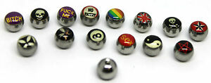 Spare Replacement Logo Bar Silver Steel Balls Body Piercing 14G 1.6mm