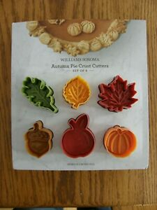 Set 6:Williams Sonoma Autumn Pie Crust/Cookie Cutters-Leaf,Apple, Acorn, Pumpkin
