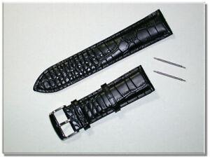 gepolstertes echt Leder Uhrenarmband Schwarz Krokodil 24mm Stegbreite 9835