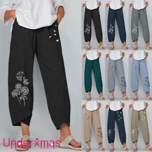 Summer Womens Ladies Cotton Linen Baggy Casual Harem Pants Trousers Plus Size UK