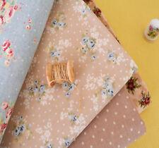 Vintage Cottage Chic Blue Flowers Dotty 100% Cotton Fabric Sand Quilting 50x47cm
