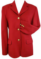 Brooks Brothers Womens Blazer Worsted Wool Red Gold Buttons SZ 10 Shoulder pads