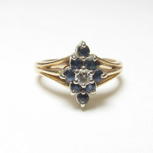 Estate 14K Yellow Gold 8 Natural Navy Blue Sapphire And Diamond Ring 0.40 Cts