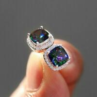 Elegant 925 Silver Stud Earrings Women Mystic Topaz Wedding Earrings A Pair