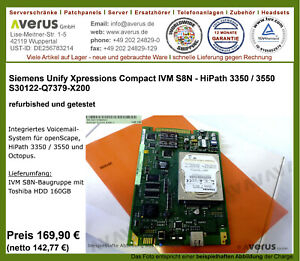 Siemens Unify Xpressions Compact IVM S8N - Hipath 3350/3550 IVMS8N / Re_MwSt