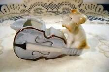 Vintage Porcelain Japan Dog w/Violin Ashtray Luster Ware Excellent