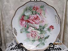 "Vintage Z.S. & C.Co Rose w/ Gold Trim Cake Plate for display Cabinet 9.5"" France"