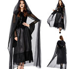 Halloween Women Ghost Bride Cosplay Costume Scary Witch Vampire Black Long Dress