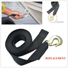 "Heavy Duty Tow Winch Strap Replacement 2"" Winch Rope Belt With Hook Boat Trailer"