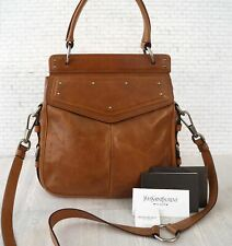 YVES SAINT LAURENT Luggage Brown Leather Bag Convertible Crossbody Bag