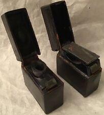 Antique Travelling Black Leather Covered Inkwell & Match Holder/Striker