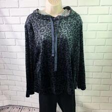 Loft Women's Gray Leopard Print Hoodie Size Medium Velour Hooded Pullover D5
