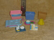 Fisher Price Loving Family Dollhouse Food Tray Accessory Lot: Milk, Corn, Bag