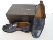 GUCCI MENS LEATHER SHOES SIZE 7 GROSS GRAIN PESANTE BLUE NEW W/BOX MADEMIN ITALY