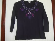 Size L CC purple top with embroidery, beading and sequins