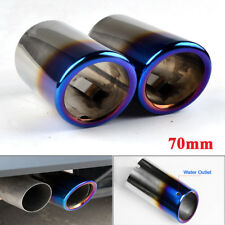 70mm Blue Stainless Steel Exhaust Tail pipe Trim Tip for VW Scirocco Golf VI VII