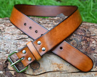 Handmade Full Grain Real Brown Leather Belt 1.5 inch width Nickel Roller Buckle