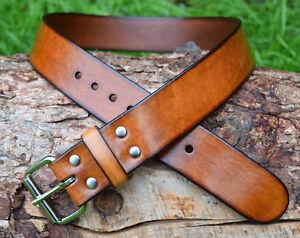 Cristopher Handmade Full Grain Brown Leather Belt 1 3/4 in width Roller Buckle