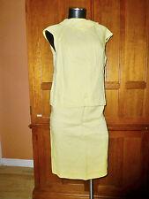 NOS Vtg 60s 70s MOD ROSECREST Linen Yellow Easter 2pc dress SKIRT Blouse Top SET