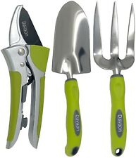 Davaon Pro Ratchet Secateurs & Garden Hand Tools (Trowel & Fork) Set