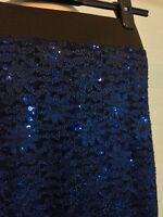 SIZE 8 INTERNACIONALE BLUE STRETCH LACE PENCIL SKIRT GOTH WHITBY PARTY CHRISTMAS