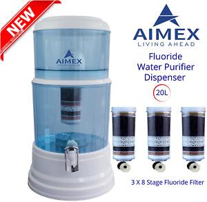 Aimex 20L Benchtop Water Purifier Dispenser Maifan Stone with 3 X 8 Stage Fluori