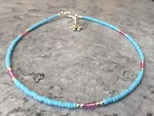 Turquoise Pink Glass Seed Bead Daisy Charm Anklet/Ankle Bracelet 13""