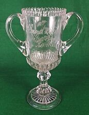 """Large Antique Victorian Glass Romantic Loving Cup """"HAND IT OVER TO ME MY DEAR"""""""