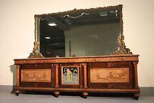 Credenza italiana 5 porte in radica di noce mobile scaffale stile antico marmo