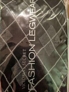 Victoria's Secret Fashion Legwear Tights Black/Gray Argyle Size M/L New