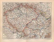 BÖHMEN Mähren Österreich-Schlesien Pilsen Prag Brünn Budweis LANDKARTE um 1900