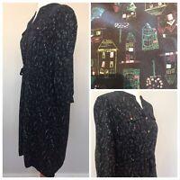 MANTARAY Debenhams Navy Tea Dress Quirky Drawstring Flattering Size 12