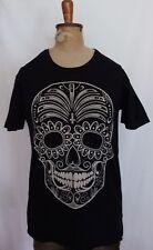 T-BAR ~ Black & Cream Mexican Sugar Skull Print Cotton T-Shirt XS