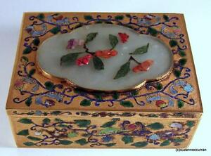 19th C Gilt Chinese Silver & Enamel Squirrel Box with Carved Jade & Cinnabar