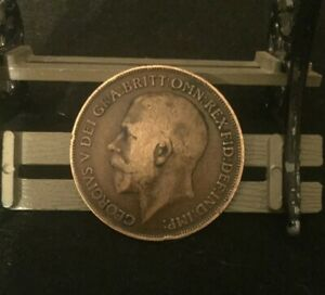 1916- GREAT BRITAIN- GEORGE V - ONE PENNY BRONZE COIN- KM# 810 RARE.