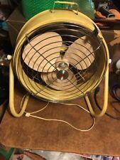 """Vintage 15"""" Hoover Air Circulator Floor Fan 1 Speed Yellow"""