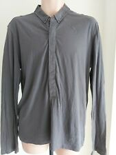 Mens ALL SAINTS size L Long sleeve GREY TOP Polo shirt casual skinny fit