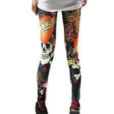 New Fashion Sexy Women's Slim Graffiti Stretchy Skull Leggings Pencil HOT Pro US