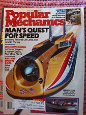 Popular Mechanics June '85 arbor plans, 700MPH jet car, classic wagon, tables