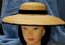 Hat Shallow Crowned Broad Brim Natural Straw 1840-1860's Black Velvet Ribbon
