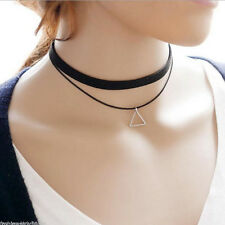 Sexy Black Leather Triangle Necklace Simple Geometry Design Girl Punk Choker Bib