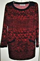 Susan Graver QVC Red Black Liquid Knit Pullover Top Pockets Bateau Neck Small
