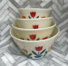 PRISTINE! Vintage Fire King Oven Ware Nesting Tulip White Mixing Bowls Set Of 4