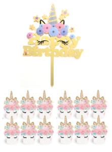 Einhorn Unicorn Geburtstag Torten Kuchen Cupcake Deko Aufstecker Topper Birthday