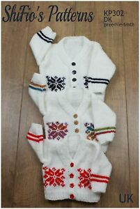 Knitting Pattern for Babies V-Neck Snowflake Cardigan Preemie - 6mths, SKP302